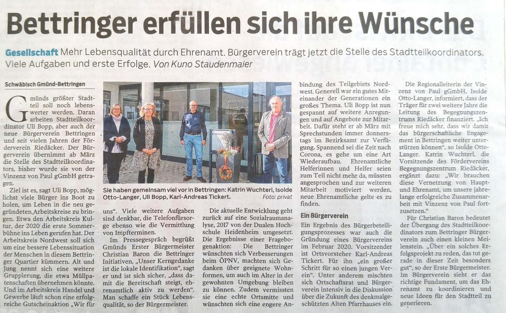 Bettringer Bürgerverein trägt Stadtteilkoordinator
